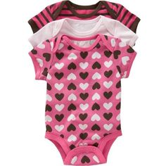 Old Navy Jersey Bodysuit 3Packs For Baby ($9.99) ❤ liked on Polyvore featuring baby, baby girl, baby stuff, baby clothes and baby girl clothes
