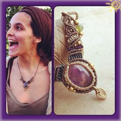 Powerful Amethyst Macrame Necklace with Magical brass beads and, TRIBAL JEWELRY bohemian necklace gipsy jewelry tribal macrame