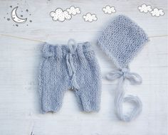 Gray Newborn photo prop baby boy /baby girl / Unisex Mohair knit pants / Baby knitted shorts set with bonnet