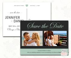 Mint Green Save the Date Postcard Printable - Printable Save the Date - Save the Date Cards Wedding - Photo Save the Date by PegsPrints on Etsy