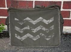 Grunge Chevron Pattern - Khaki Green / Olive Over The Shoulder Messenger Bag. $45.00, via Etsy.