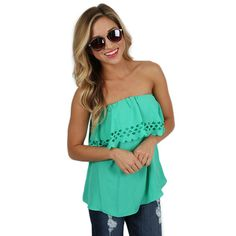 Summer Sunset Strapless Top in Jade | Impressions Online Women's Clothing Boutique