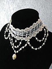 Handmade Gorgerous White Floral Lace and Pearl Gothic Princess Lolita Necklace