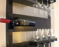 ON SALE Modern Ebony And Chrome, Stained Wall Mounted Wine Rack with Shelves and Decorative Mesh, Wine and Liquor Shelf/ Cabinet