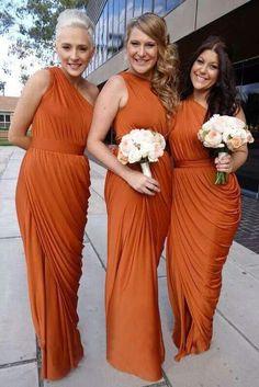 Burnt Orange Long Bridesmaid Dresses One Shoulder Fall Wedding Party Dresses Plus Size Maid Of Honor Dresses Formal Dresses Party Dresses