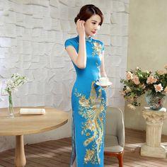 Impressive Phoenix Embroidery Qipao Cheongsam Dress - Blue - Qipao Cheongsam & Dresses - Women