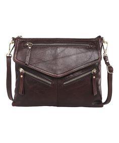 Vicenzo Leather Dark Brown Gellis Leather Crossbody Bag | zulily