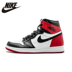 low priced e0132 6d8b8 Nike Air Jordan 1 Black Toe Original Mens Basketball Shoes Breathable  Stability Sneakers For Men Shoes 555088-125