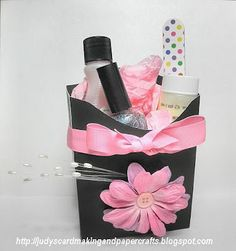 Fry Box Gift idea!  Fry box pattern can be made with cricut.  Includes a travel size lotion, finger nail file, polish remover, and polish with cute tissue paper, then wrapped in celophane paper and a bow.  ADORABLE