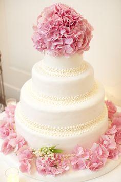 Wedding Cake With Hydrangeas   See the wedding on SMP - http://www.StyleMePretty.com/new-york-weddings/2014/01/24/classic-wedding-at-the-yale-club-of-new-york-city/ Photography: Felix Studios