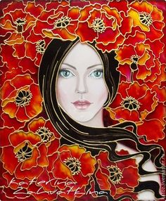Magic of the female soul. Stained-glass painting of Catherine. Discussion on LiveInternet - Russian Online Diaries Service Ceramic Painting, Fabric Painting, Stone Painting, Stained Glass Flowers, Faux Stained Glass, Glass Painting Designs, Paint Designs, Art And Illustration, Bohemian Art