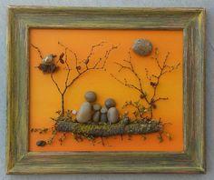 Family arte de piedra / Rock arte familia de cuatro en al aire