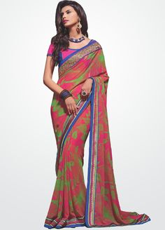 Gorgeous #Pink and #Green colour #Georgette #Saree #Online @ www.manndola.com