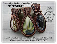 This beautiful weave design is so versatile that I wanted to share it. It works well with Oval, Round and Tear Drop cabochons. This tutorial also includes three bail designs and an accenting technique. I have also included some tips throughout and on a separate tip page.  Materials needed to comple