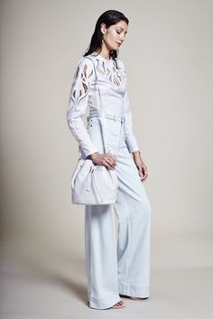 Resort 2016 Trend: Simply White - Yigal Azrouël's cotton top with Alice + Olivia's cotton denim pants - WWD