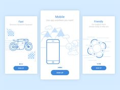 Onboarding Screens illustration outline icon fast friendly blue mobile graphic ios android intro welcome screen Web Design, App Ui Design, User Interface Design, Android Design, Layout Design, Graphic Design, Mobile App Design, Mobile Ui, Onboarding App