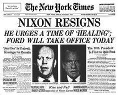 Pres. Nixon resigns in 1974 after the Watergate Scandal.