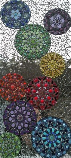 Colorful Kaleidoscope Mosaic Art Glass door NicholeAubreyMosaics