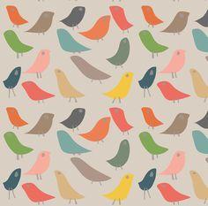 Mod Bird Fabric - The Birds On Beige By Kaoru Sanchez - Modern Bird Scandi Retro Modern Cotton Fabric By The Yard With Spoonflower