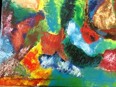 This is an 18x24 abstract contemporary modern painting utilizing red yellow blue green white and browns forming a multi colored melange of color