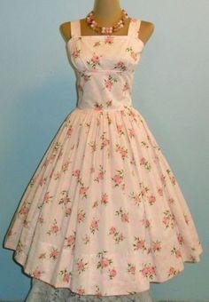 Vintage sweet floral garden party dress