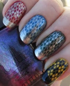 Nude And Blue Scotch Sticky Tape Nail Art Design With Dotted