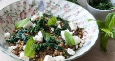 Spinach Lentil and Feta Cheese Salad