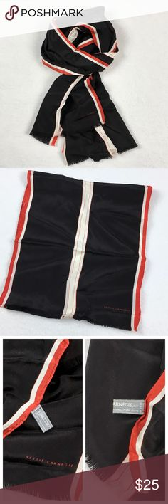 "Hattie Carnegie Vintage Silk Scarf Hattie Carnegie rectangular scarf.  100% silk, made in Japan.  Delicate fringe edge at short ends.  Vintage with a modern style.  In excellent condition - no stains, holes, or pulls.  Length 52"", width 11"". Hattie Carnegie Accessories Scarves & Wraps"