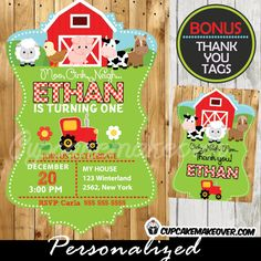 Printable Barnyard Animals Birthday invitation with matching thank you cards for boys. This personalized Farm themed party invitation features a red tractor Farm Party Favors, Farm Party Invitations, Farm Themed Party, Barnyard Party, 40th Birthday Invitations, Invitation Ideas, Farm Animal Birthday, Farm Birthday, Boy Birthday Parties
