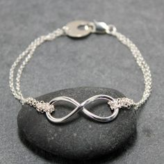 DOUBLE INFINITY anklet 925 sterling silver by RoyalCountess, $56.00
