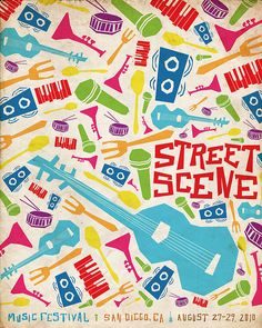 Street Scene Music Festival Poster / Monica O Music Room Art, Music Artwork, Band Posters, Cool Posters, Music Posters, Music Memes Funny, Art Auction Projects, Music Drawings, Music Fest