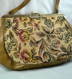 Vintage 1960s Dover Tapestry Handbag Over the Wrist by CloesCloset