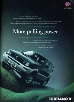 1997 Nissan Terrano II - Productioncars.com Nissan 4x4, Nissan Trucks, Nissan Terrano 2, Car Brochure, Nissan Infiniti, Japanese Cars, Vintage Cars, Classic Cars, Ads