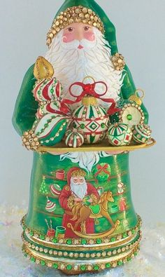 from Patricia breen Z Old World Christmas Ornaments, Christmas Figurines, Green Christmas, Father Christmas, Christmas Colors, All Things Christmas, Christmas Holidays, Christmas Crafts, Green Santa