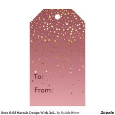 Rose Gold Marsala Design With Gold Stars Gift Tags