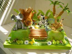 Jungle Birthday Cakes, Safari Theme Birthday, Animal Birthday Cakes, Birthday Cake For Him, Jungle Theme Parties, Baby Boy 1st Birthday, Safari Party, Happy Birthday Cakes, Leo Birthday