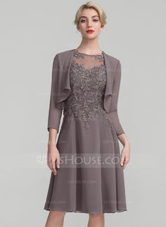 89f4ce8299a A-Line Princess Scoop Neck Knee-Length Chiffon Lace Mother of the Bride  Dress - Mother of the Bride Dresses - DressFirst