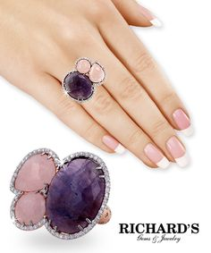 Amethyst and Rose Quartz Diamond Ring in 14K Rose Gold