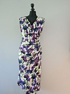 065f4d0c879 Phase Eight Purple Ivory Sweet Pea Floral Dress in size 20 Pencil Stretch  Wiggle