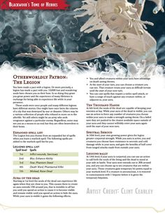 Tagged with dungeons and dragons, edition dnd, warlock dnd; Otherworldly Patron - The legion - A warlock patron that is the amalgamation of lost souls. Warlock Class, Warlock Dnd, Dungeons And Dragons Classes, Dungeons And Dragons Homebrew, Dnd Classes, Dnd Races, Dnd 5e Homebrew, Dnd Monsters, Character Creation