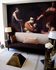 "Interior design by Raji Radhakrishnan. Wall mural ""Andromache and Astyanax"" by Pierre-Paul Prud'hon available through..."