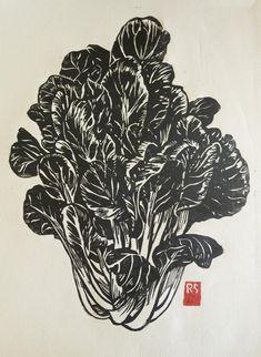 Veggie & Fruit block prints from printmaker and illustrator Rigel Stuhmiller--Tat Soi Hand-printed Block Print