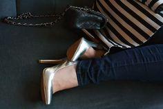Metallic Finish - Silver heels, black and white striped coat