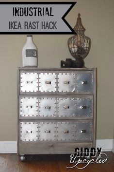 furniture muebles IKEA Rast Hack: Industrial Side Table by Giddy Upcycled Ikea Industrial, Industrial Side Table, Vintage Industrial Furniture, Industrial Dresser, Ikea Furniture, Furniture Projects, Furniture Makeover, Painted Furniture, Pallet Furniture