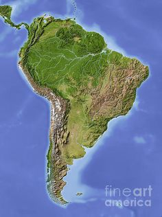 South America Shaded Relief Map. Repinned by Elizabeth VanBuskirk.