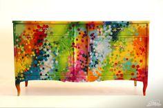 Stunning Furniture Design: Funky Graffiti in Vibrant Colours by Dudeman - Home Decor Design Hand Painted Furniture, Funky Furniture, Paint Furniture, Repurposed Furniture, Furniture Makeover, Furniture Design, Spray Paint Projects, Diy Spray Paint, Graffiti Furniture