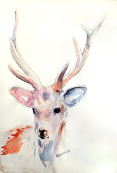 Deer original watercolor painting. Unusual present unique gift. Water color wall art. Contemporary watercolour drawing. Water colour art. (125.00 EUR) by AlisaAdamsoneArt