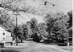 Second of two photographs. This one shows the Freeman Store at the right. Note that the wood fence has become a stone wall, which still exists, a project undertaken by the local Lion's Club.
