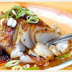 Sauteed Sablefish with Ginger-Soy. Sauteed Sablefish with Ginger-Soy Glaze . one of our Super Seven Sustainable Seafood Picks for World Oceans Day! Cod Fish Recipes, Seafood Recipes, Asian Recipes, Cooking Recipes, Healthy Recipes, Fish Recipes For Two, Grilled Cod Recipes, Red Snapper Recipes, Baked Cod Recipes