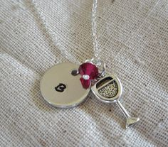 Hand Stamped Aluminum Necklace / Initial Charm and by kimgilbert3, $16.00